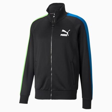 Chaqueta deportiva Iconic T7 para hombre, Puma Black-Green-Blue, pequeño