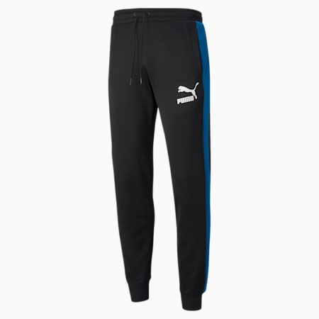 Pantalones deportivos Iconic T7 para hombre, Puma Black-Green-Blue, pequeño