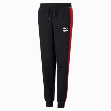 Iconic T7 Youth Track Pants, Puma Black-High Risk Red, small-GBR