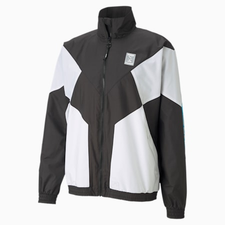 CLD9 Corrupted Men's Windbreaker, Puma Black-Puma White, small-SEA