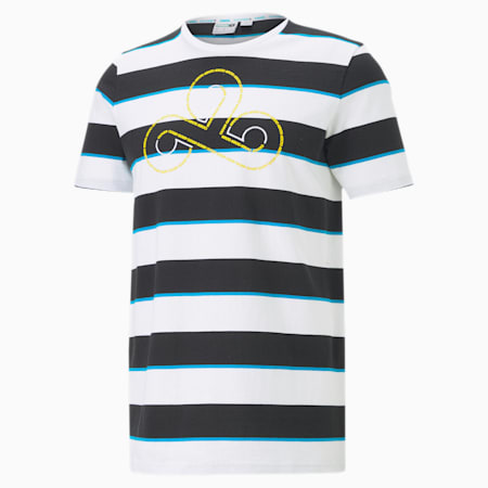 CLD9 Disconnect Striped Men's T-Shirt, Cotton Black-Puma White, small-IND