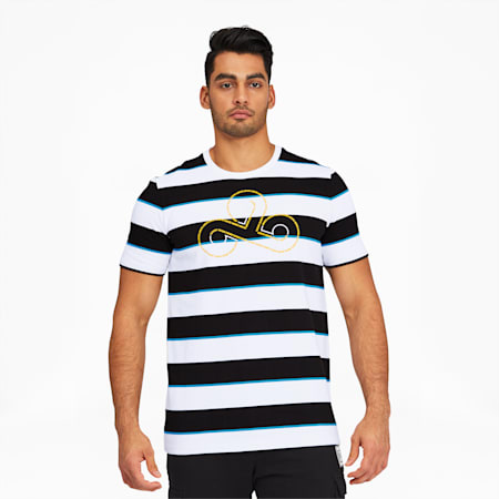 PUMA x CLOUD9 Disconnect Men's Striped Tee, Cotton Black-Puma White, small