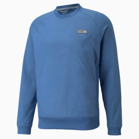 EGW CLOUDSPUN PM Crew Neck Men's Golf Sweater, Federal Blue Heather, small
