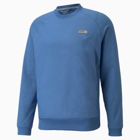 EGW CLOUDSPUN PM Crew Neck Men's Golf Sweater, Federal Blue Heather, small-GBR