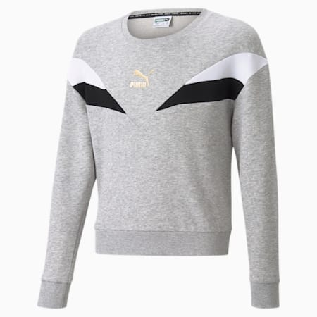 GRL Crew Neck Youth Sweater, Light Gray Heather, small