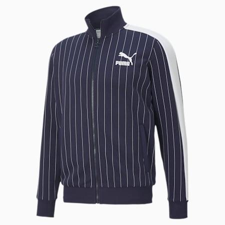 Pinstripe Men's Track Jacket, Peacoat-AOP, small