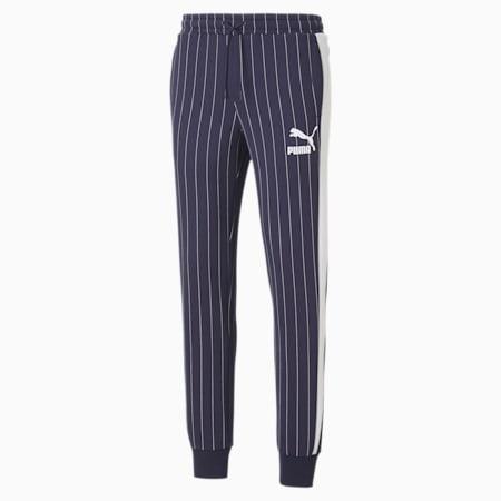 Pinstripe Men's Track Pants, Peacoat-AOP, small