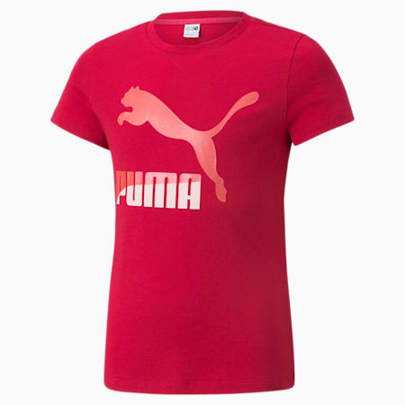 Camiseta con logo Classics para niña, Persian Red, pequeño