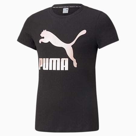 Camiseta con logo Classics para niña, Puma Black, pequeño