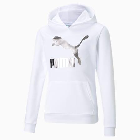 Classics Logo Youth Hoodie, Puma White-foil, small