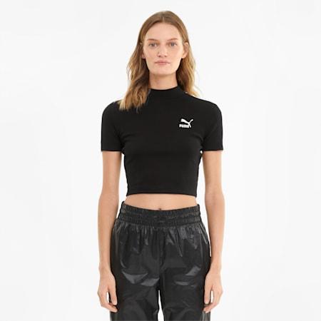 Classics Mock Neck Damen Top, Puma Black, small