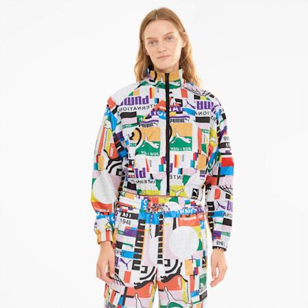 Chaqueta de chándal de tejido plano con estampado PUMA International para mujer, Puma White, small