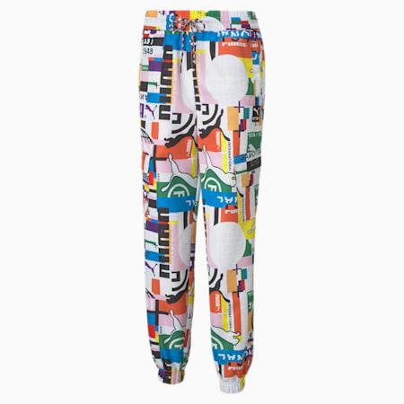 Damskie tkaninowe spodnie dresowe z nadrukiem PUMA International, Puma White, small