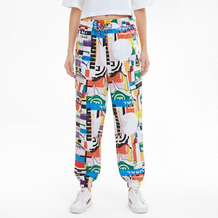 Pantalones de chándal de tejido plano y estampado PUMA International para mujer, Puma White, small