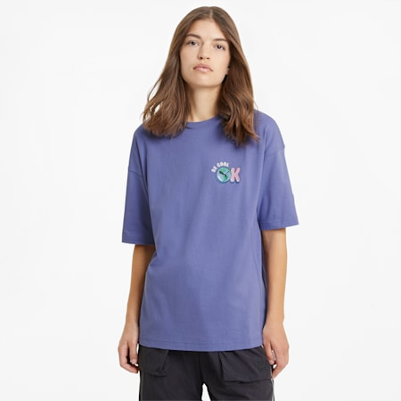 Downtown Graphic Women's Tee, Hazy Blue, small-SEA