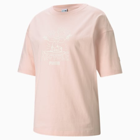 Downtown Graphic Women's Relaxed T-shirt, Cloud Pink, small-IND
