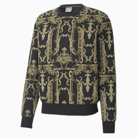 Luxe Printed Crew Neck Men's Sweater, Cotton Black-AOP-gold, small-SEA