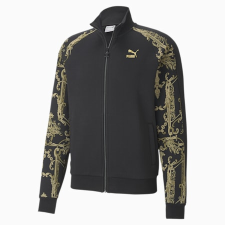 Luxe Printed Full-Zip Men's Track Jacket, Cotton Black-Gold, small-SEA
