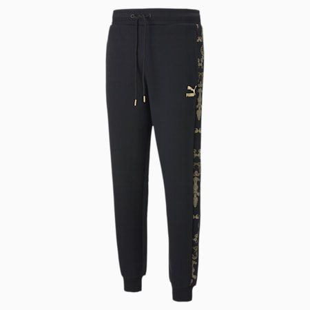 Luxe Printed Men's Track Pants, Cotton Black-Gold, small-SEA
