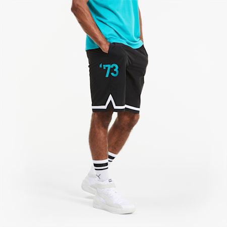 Franchise Herren Basketball Gewebte Shorts, Puma Black, small