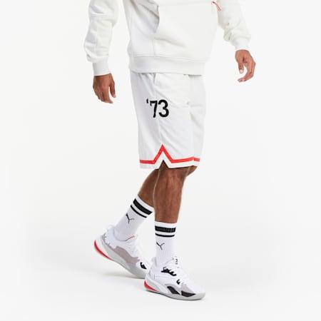Short tissé Franchise Basketball pour homme, Vaporous Gray, small