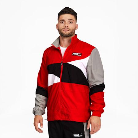 Formstrip Men's Woven Jacket, Fiery Red-Puma Black, small