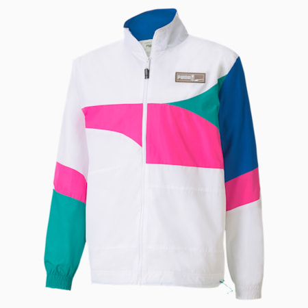 Formstrip Woven Men's Basketball Jacket, Puma White-Luminous Pink, small-IND