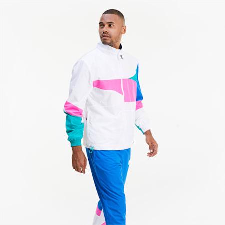 Formstrip Woven Men's Basketball Jacket, Puma White-Luminous Pink, small