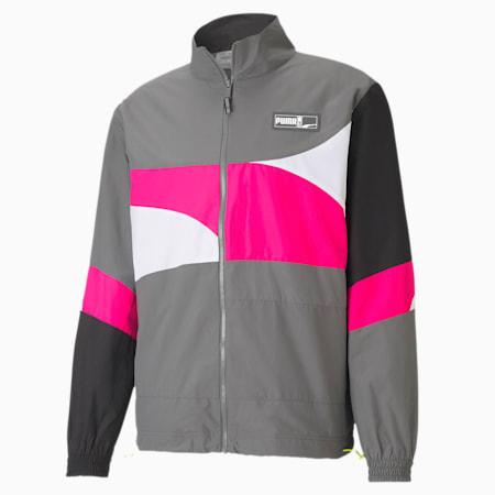 Formstrip Woven Men's Basketball Jacket, CASTLEROCK-Pink Glo, small