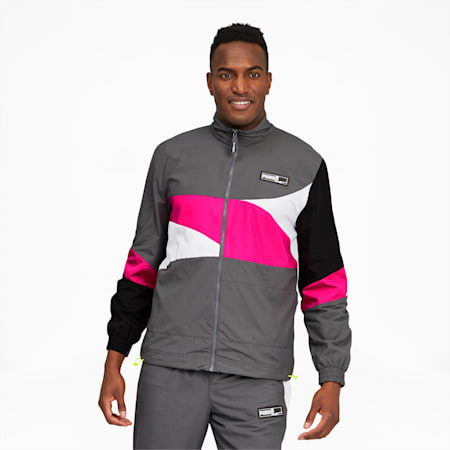 Formstrip Men's Woven Jacket, CASTLEROCK-Pink Glo, small