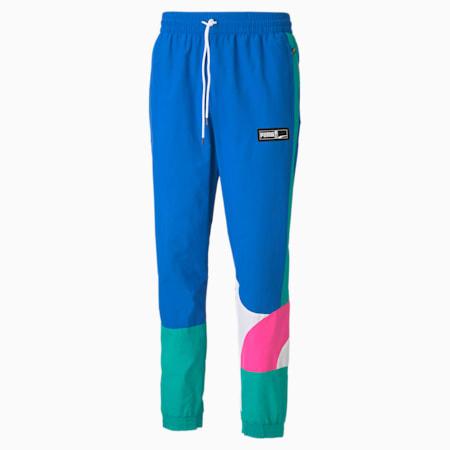 Formstrip Woven Men's Basketball Pants, Lapis Blue-Luminous Pink, small-IND