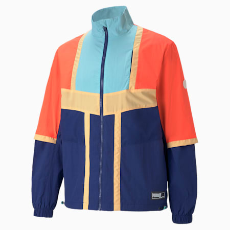Court Side Men's Basketball Jacket, Elektro Blue, small