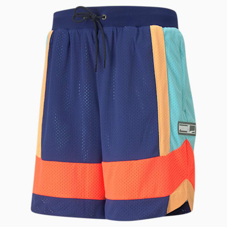 Court Side Mesh Men's Basketball Relaxed Shorts, Elektro Blue-Fiery Coral, small-IND