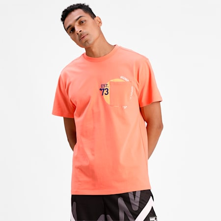 Pocket Men's Basketball  T-shirt, Fiery Coral, small-IND