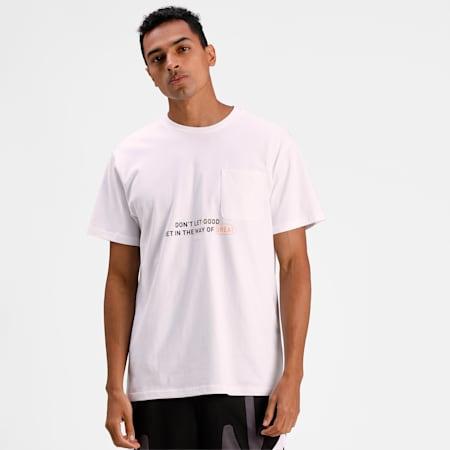 Pocket Men's Basketball  T-shirt, Puma White, small-IND
