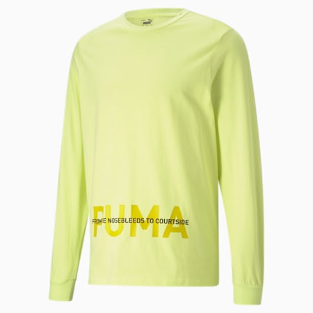 PE Long Sleeve Men's Basketball  T-shirt, SOFT FLUO YELLOW, small-IND
