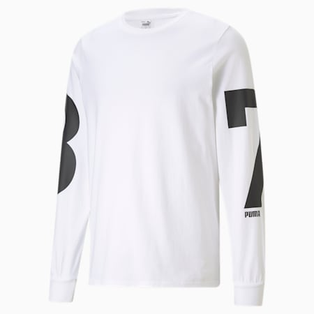 PE Long Sleeve Men's Basketball Tee, Puma White, small
