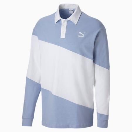 Evolution Long Sleeve Men's Polo, Brunnera Blue, small