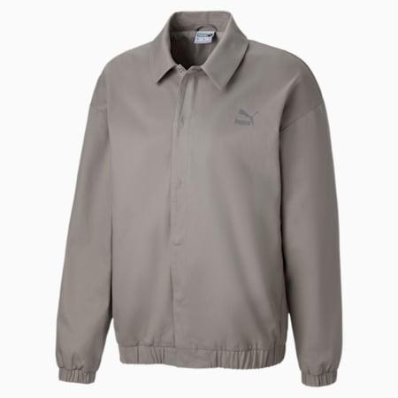 Cotton Woven Men's Jacket, Flint Gray, small