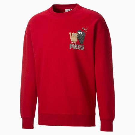 PUMA x MICHAEL LAU G Men's Crewneck Sweatshirt, American Beauty, small-GBR