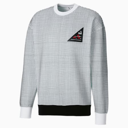 PUMA x MICHAEL LAU Printed Crew Neck Men's Sweater, Puma White-AOP, small