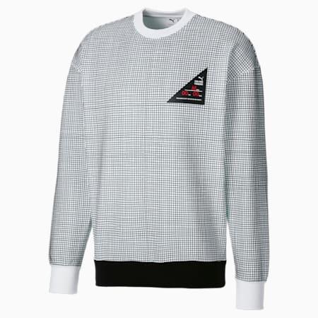 PUMA x MICHAEL LAU Printed Herren Sweatshirt mit Rundhalsausschnitt, Puma White-AOP, small