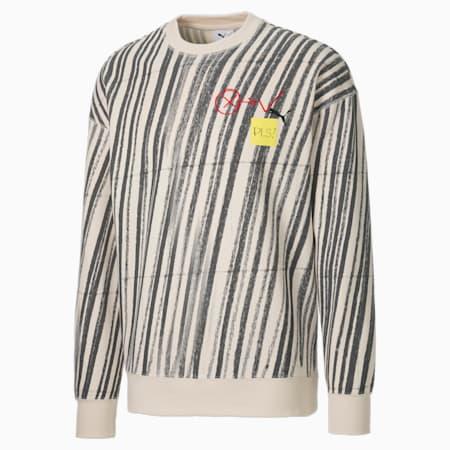 PUMA x MICHAEL LAU Printed Crew Neck Men's Sweater, Eggnog-AOP, small