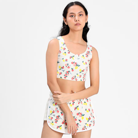 Printed Women's Bralette, Eggnog, small-IND