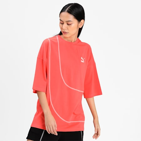 Convey Relaxed Women's Relaxed T-shirt, Hot Coral, small-IND