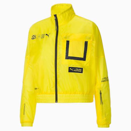 PUMA x Felipe Pantone Women's Relaxed Jacket, Blazing Yellow, small-IND