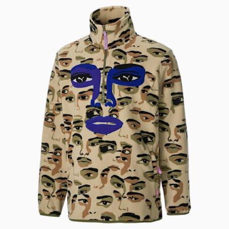PUMA x KidSuper top van fleece met halve rits heren, Pale Khaki-AOP, small