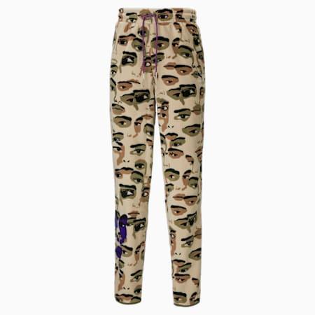 Męskie polarowe spodnie PUMA x KidSuper z nadrukiem, Pale Khaki-AOP, small