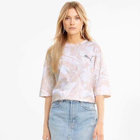 Evide Damen T-Shirt mit All-over-Print, Puma White, small