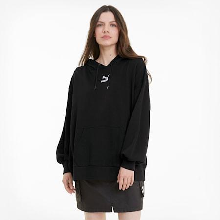 클레식 오버 사이즈 후드 티/Classics Oversized Hoodie, Puma Black, small-KOR